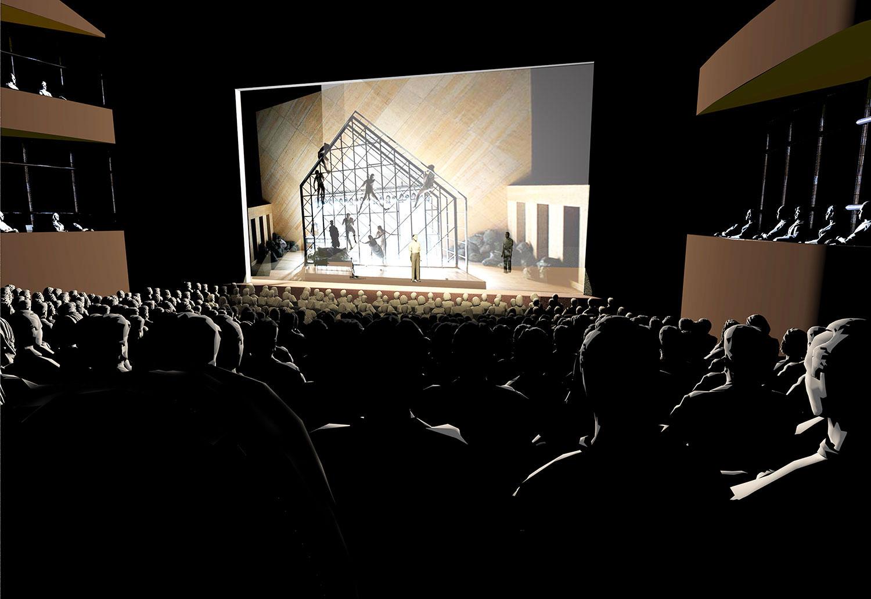 Diese Visualisierung zeigt, wie die grosse Bühne des neuen Theaters dereinst aussehen könnte. (Bild: zvg)