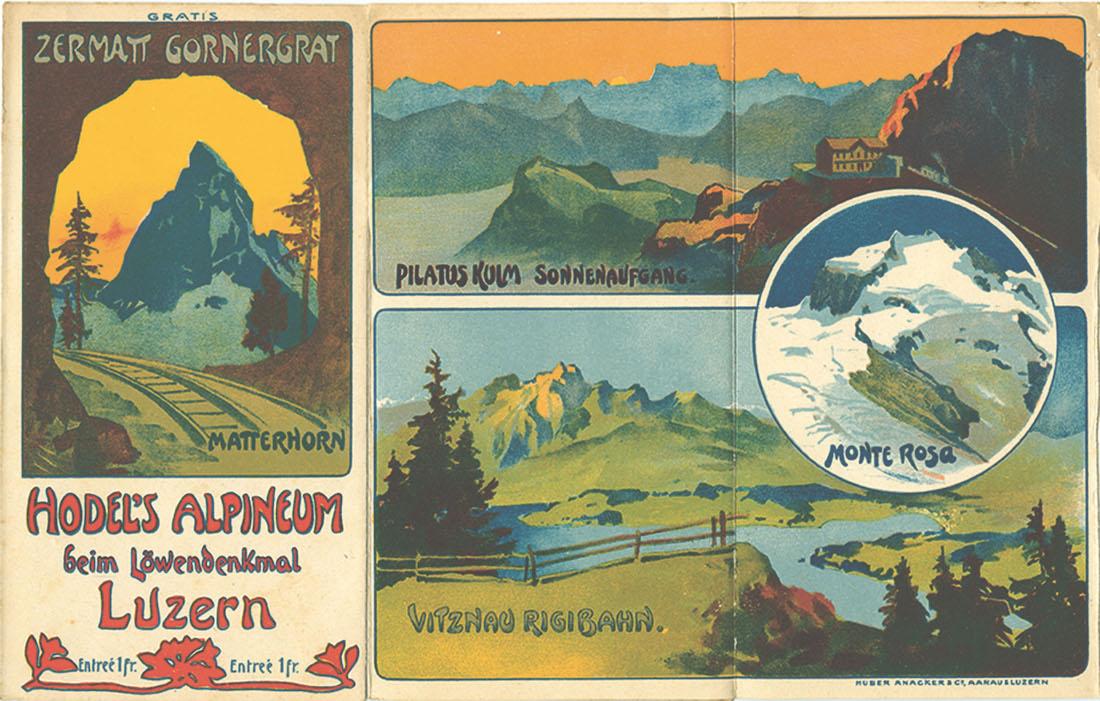 Führer für die Besucher von Ernst Hodels Alpineum, in dem die gezeigten Dioramen erklärt werden, vermutlich um 1910.