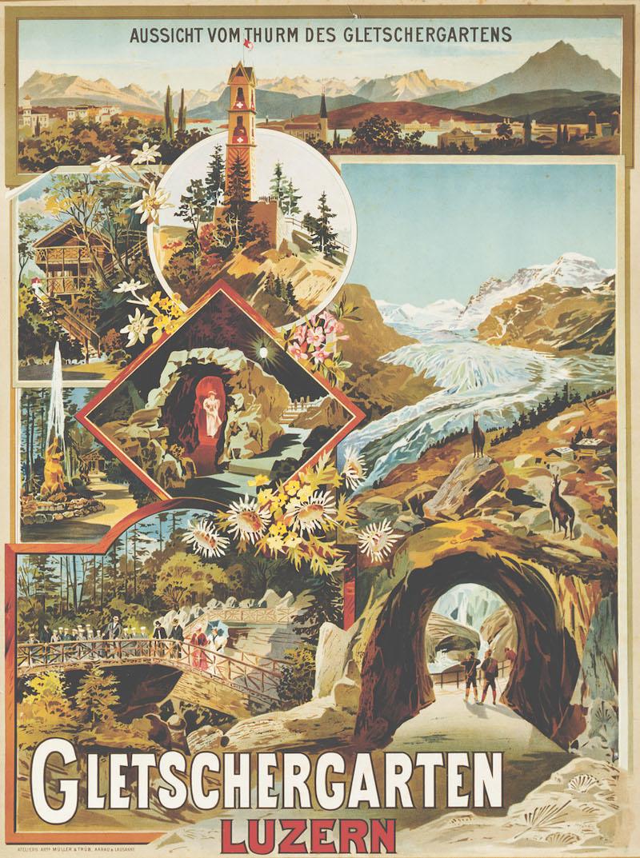 Plakat des Gletschergartens, oben das Panorama von Rigi bis Pilatus, wie man es vom Aussichtsturm aus geniessen konnte, vermutlich um 1906.