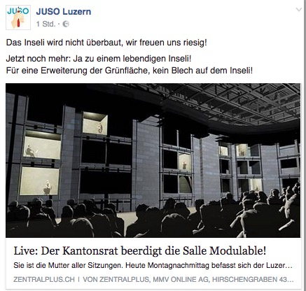 Facebook-Post der Juso Luzern.
