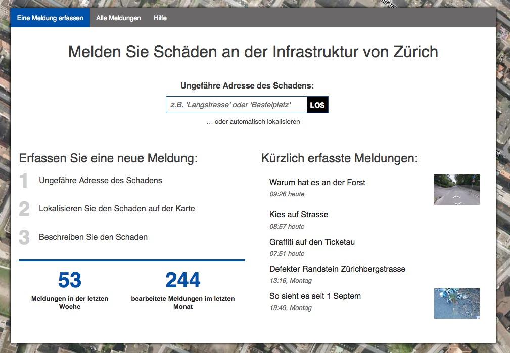 Auch über die Website können in Zürich mit wenigen Klicks Schäden gemeldet werden. (Screenshot www.zueriwieneu.ch)