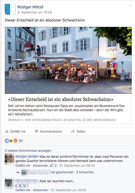 Beim «Sorgenbriefkasten» auf Facebook gibt es momentan nur ein Thema: Kerzen auf öffentlichen Brunnen. (Screenshot Facebook)