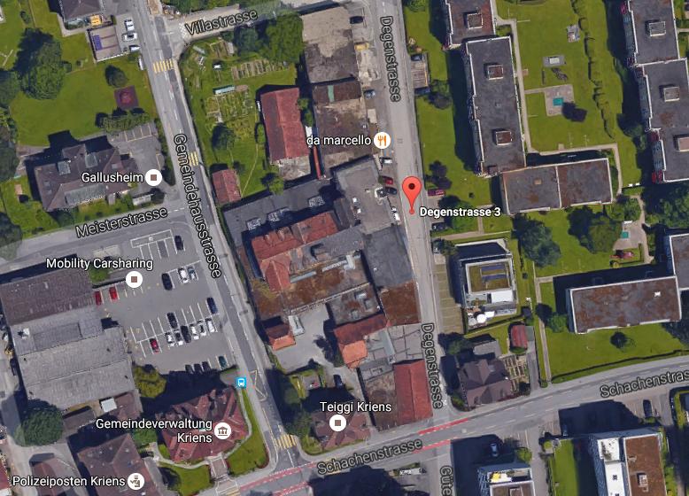 Das Teiggi–Areal im Zentrum von Kriens, auf dem die Genossenschafts–Siedlung Wohnwerk Teiggi entsteht.