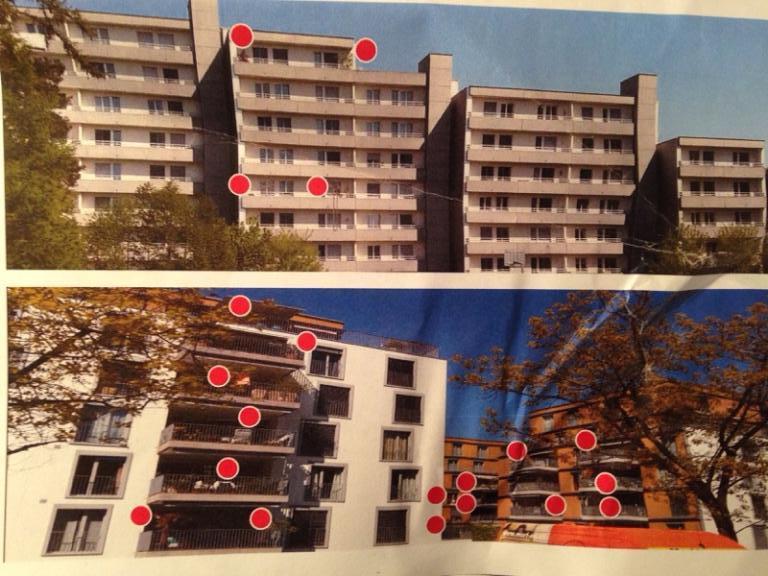 Aus dem Powerpoint-Bilderreigen zum Thema Unterfeld. Meyer zählte die Menschen im Quartier St. Johannes (oben) und im Quartier Eichwald (oben) und zog seine Schlüsse fürs Unterfeld.