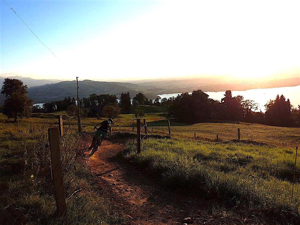 Eine Fahrt mit schönem Blick: Ein Mountainbiker auf dem Zugerberg. (Bild: IG Mountainbike Zug)