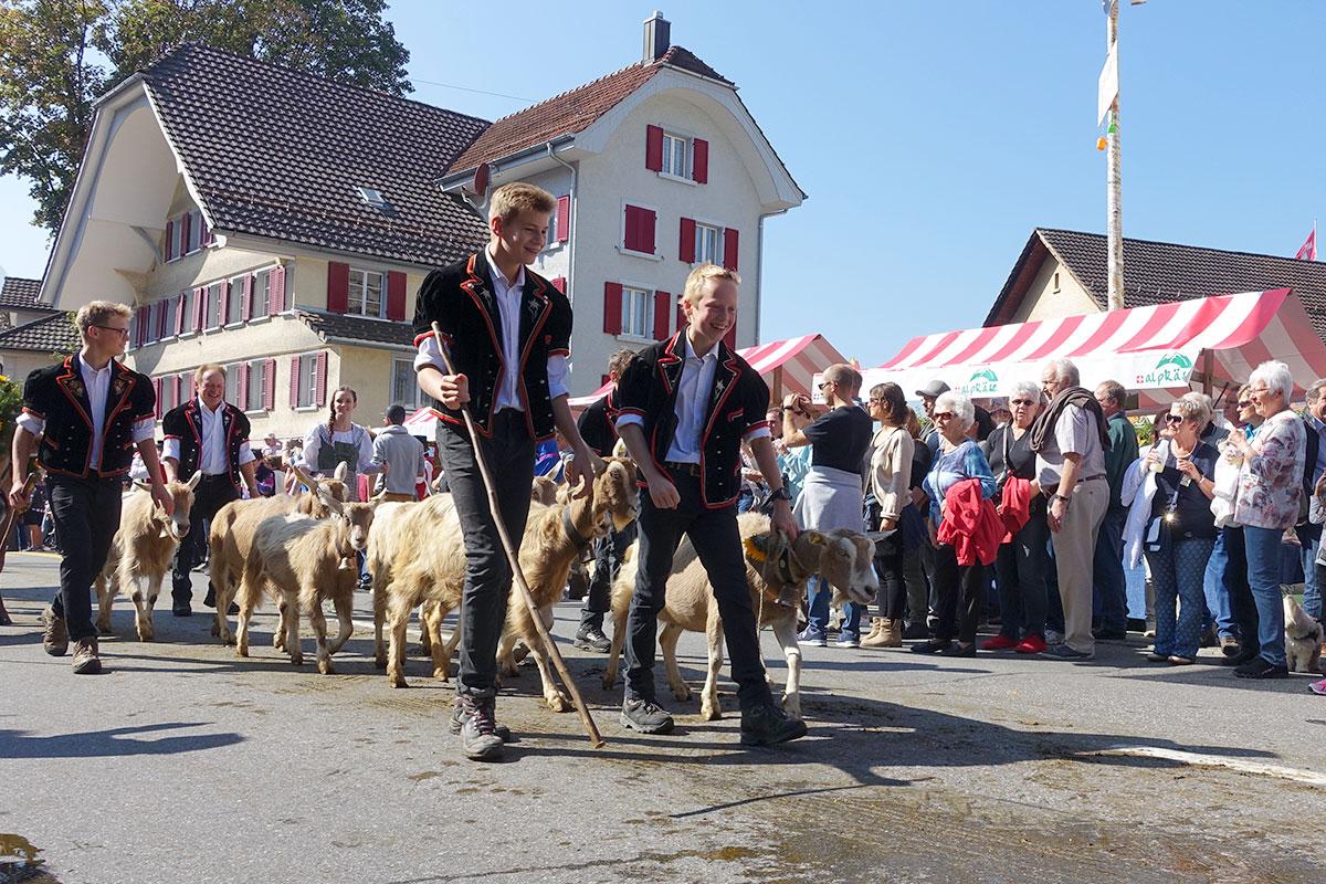Die Kleinen voran: Die Älpler marschieren in Schüpfheim ein. (Bild: jwy)