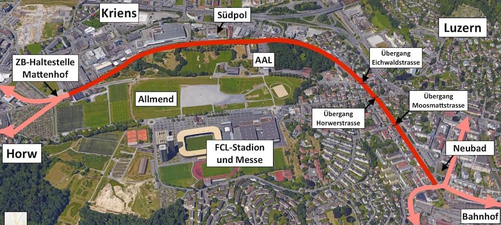 Rot eingezeichnet ist der neue Velo-/Fussweg. Die rosa Pfeile zeigen an, wohin die Velofahrt anschliessend weitergeführt werden kann (Bild: Google Maps/zentralplus).