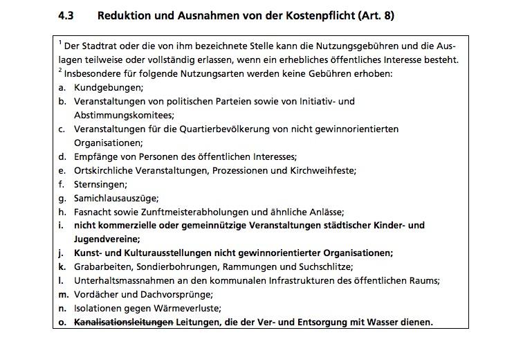 Artikel 8, Absatz 2: Die Aufzählung könnte man nach Laura Kopp streichen. (Ausschnitt aus Teilrevision des Reglements über die Nutzung des öffentlichen Grundes)
