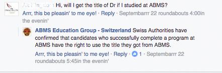 Auf der Facebookseite der ABMS die meistgestellte Frage: Darf ich mich Dr. nennen, wenn ich bei Ihnen studiere? (Quelle: Facebook)