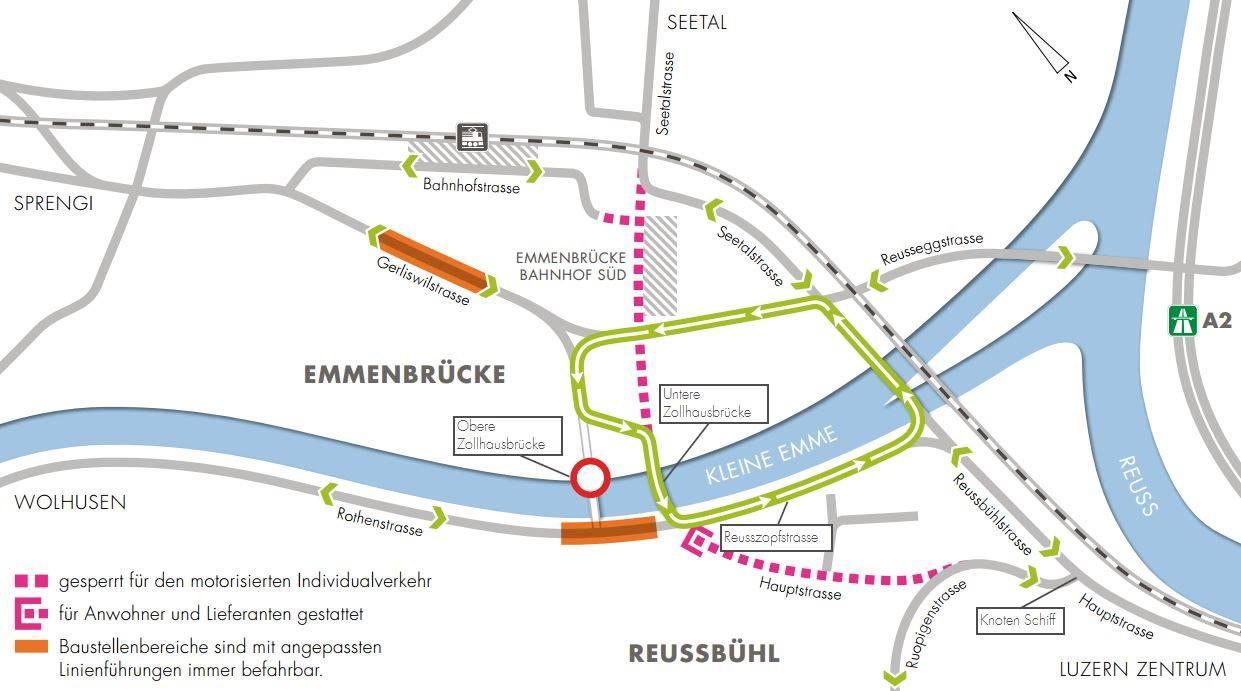 So sieht die Situation am Seetalplatz ab 10. Oktober bis Herbst 2017 aus: Der Auto-Verkehr geht über die Untere Zollhausbrücke, dafür ist die Hauptstrasse (rot gestrichelt) für Autos gesperrt. (Bild: zvg)