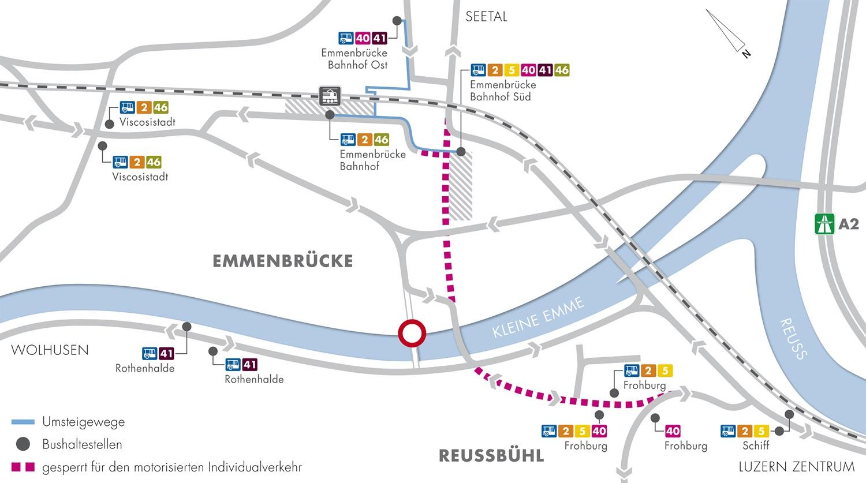 Und so sieht's für den ÖV ab 11. Dezember nach dem Fahrplanwechsel aus: In der Mitte ist der neue Bushub «Bahnhof Süd». (Bild: zvg)