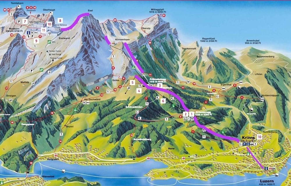 Die violette Route zeigt den Weg der Wanderung von Kriens via Krienseregg, Fräkmüntegg und Klimsen-Kapelle auf den Pilatus.