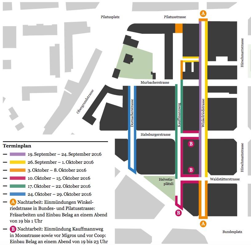 Das ist der Fahrplan für das Feintuning an den Trottoirs im Hirschmattquartier. Ende Oktober wird auch auf dem letzten Abschnitt, der Dornacherstrasse, alles fertig sein (Grafik: Stadt Luzern).