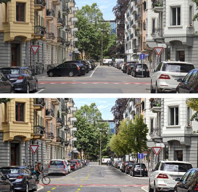 Etwas grüner, ohne Querparkplätze, dafür mit durchgehenden Velostreifen: Die Dornacherstrasse vor dem Umbau (oben) und so, wie sie gemäss Visualisierung danach aussehen soll (Bilder: Stadt Luzern).