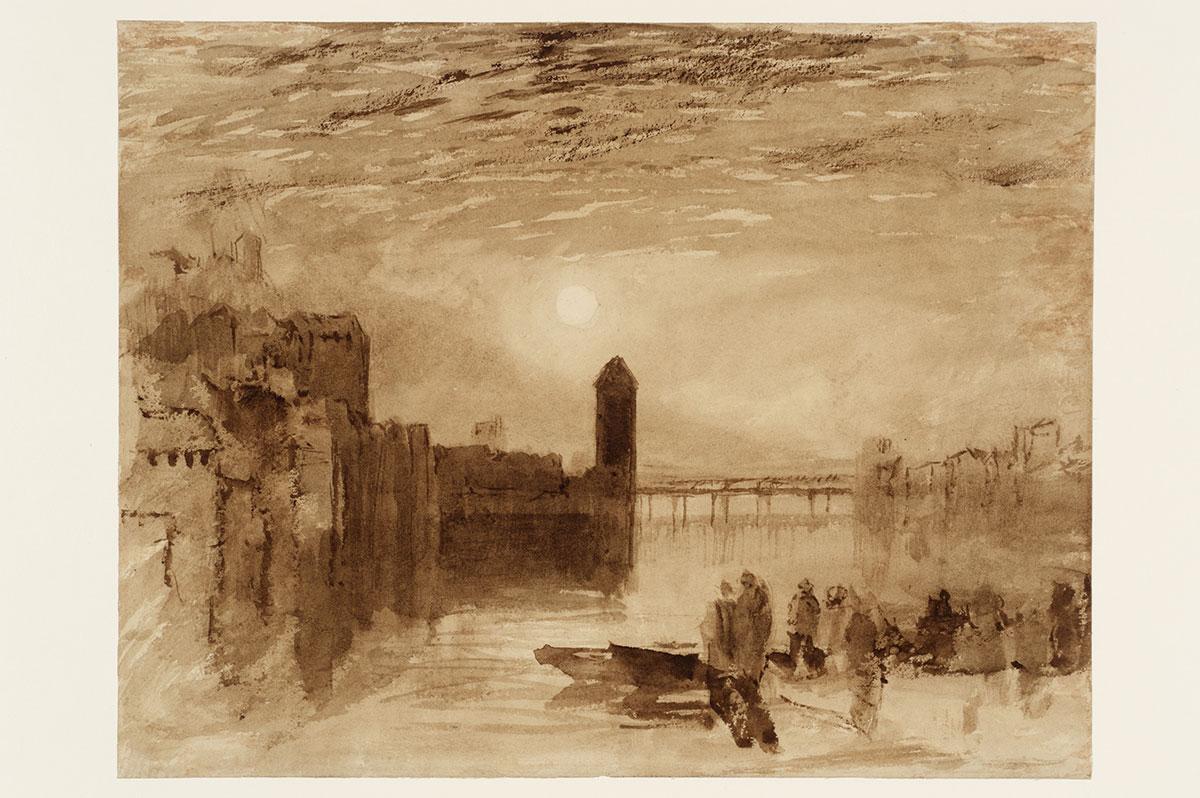 «Lucerne: Moonrise over the Kapellbrücke», ca. 1807–19, Aquarell auf Papier, Fotografie © Tate, London, 2016.