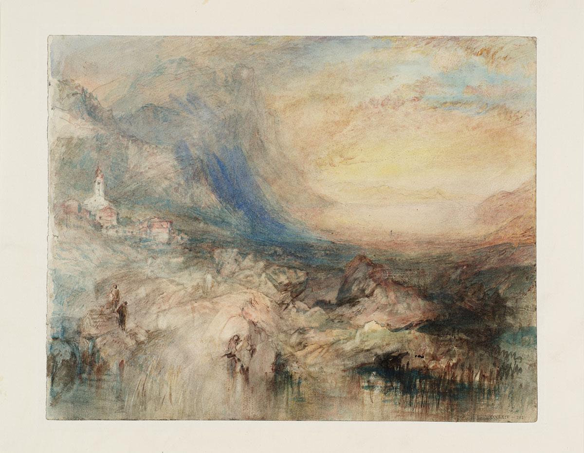 «Goldau, with the Lake of Zug in the Distance: Sample Study», ca. 1842-43 Graphit, Aquarell und Filzstift auf Papier. Fotografie © Tate, London, 2016