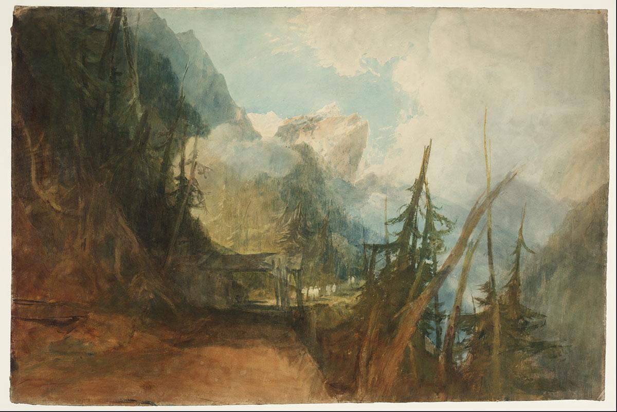 «The St Gotthard Road between Amsteg and Wassen, Looking up the Reuss Valley», ca. 1814–15, Gouache, Graphit und Aquarell auf Papier. Fotografie © Tate, London, 2016