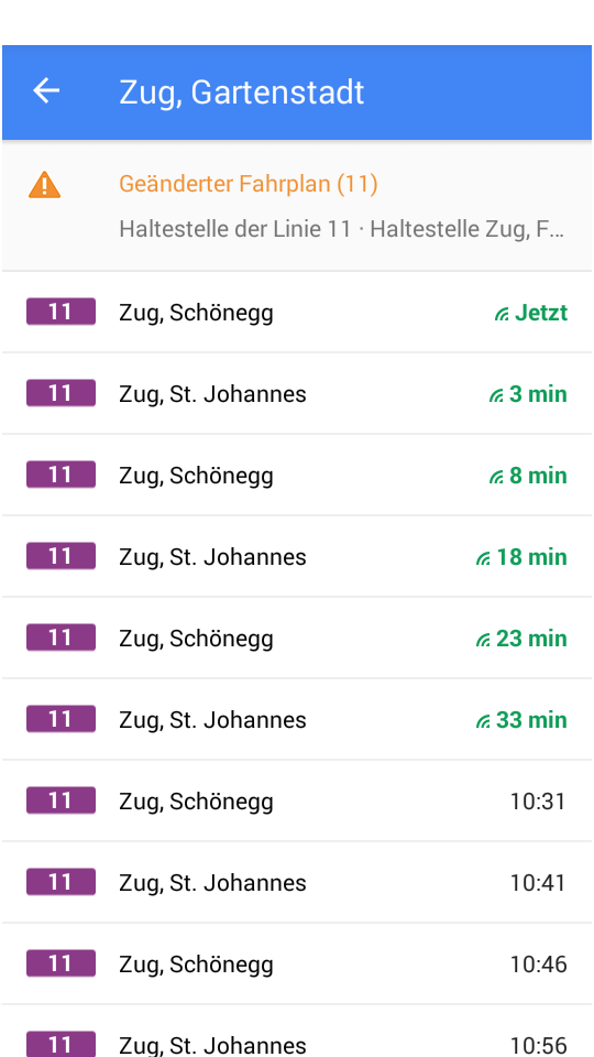 Die verkehrenden Busse an der jeweiligen Station sind mit Echtzeit-Abfahrtsdaten einsehbar.