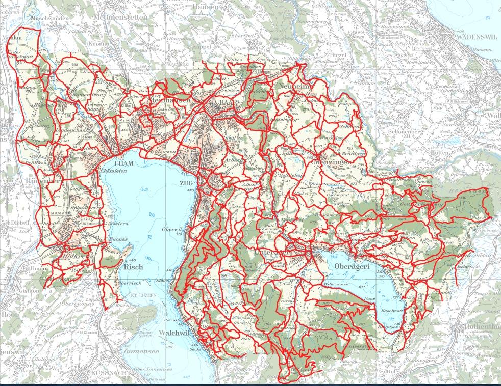Das aktuelle Zuger Wanderwegnetz.