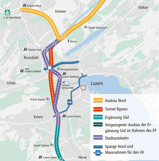 Das Wichtigste in dieser Grafik: Der geplante Bypass-Tunnel (rot eingezeichnet) soll die Stadt Luzern umfahren und den bestehenden Tunnel (violett) entlasten.