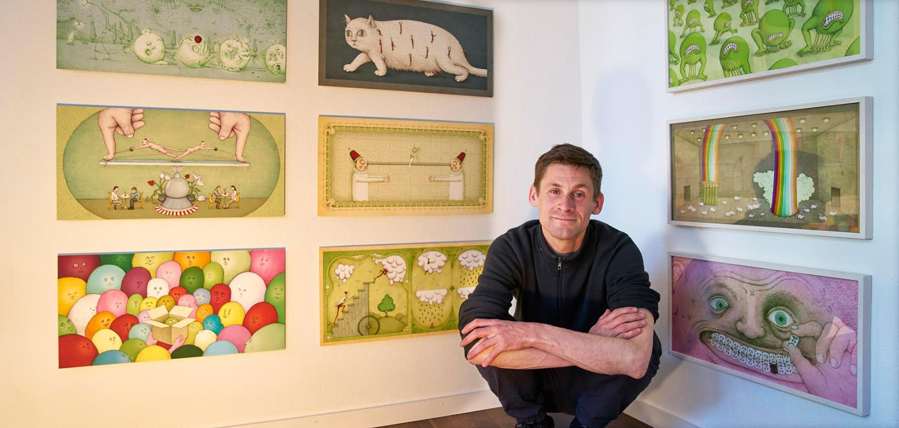 Der Autor bei der Vernissage in der Galerie