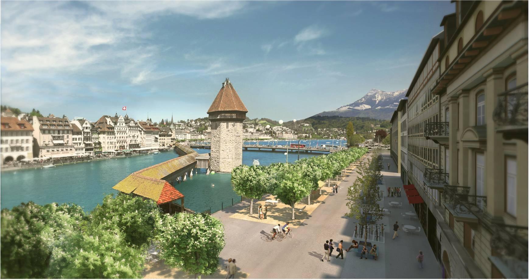 So stellen sich die Planer die Bahnhofstrasse vor – eine Visualisierung des Siegerprojektes (Bild: Koepfli Partner GmbH, Luzern).