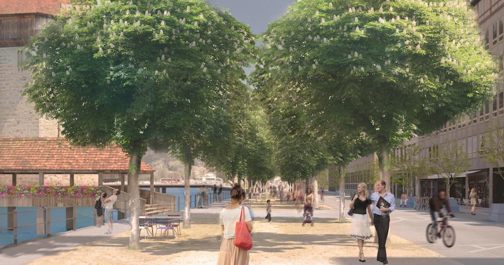 So soll die Bahnhofstrasse ab 2019 aussehen, wenn es nach der Stadt geht: Visualisierung des Projekts zur Neugestaltung. (Bild: Koepfli Partner GmbH, Luzern)