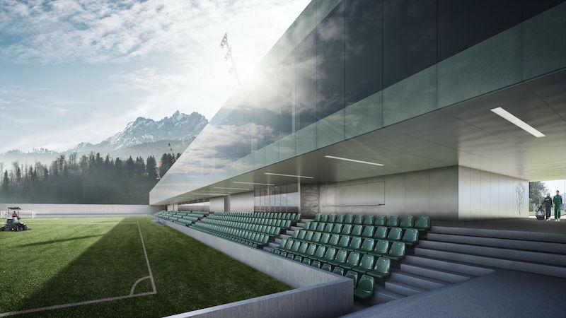 So soll das neue Sportstadion im Kleinfeld einmal aussehen. (Bild: sckriens.ch)