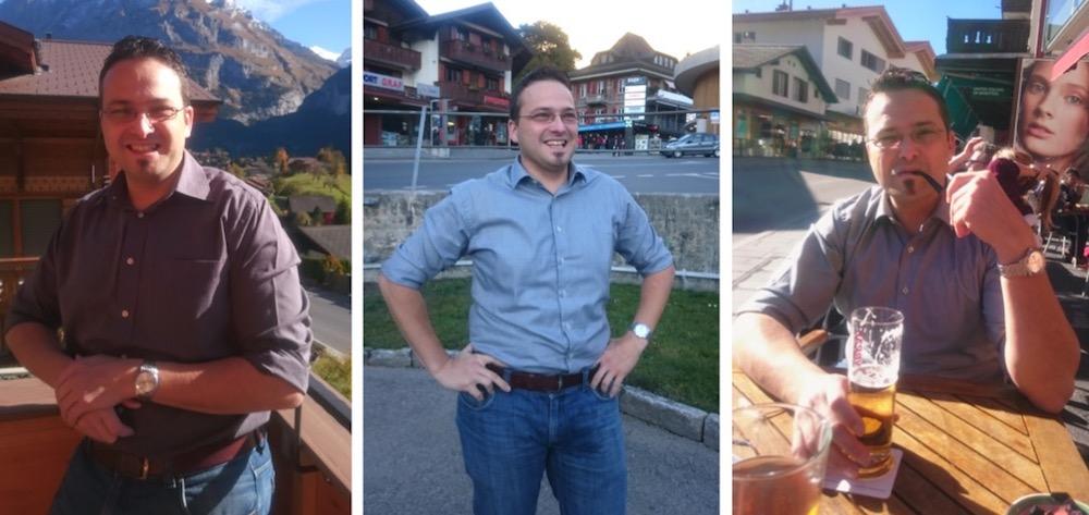 Thomas Schärli in drei Aufnahmen, die seine Partnerin von ihm in den Ferien gemacht hat (Bilder: zVg).