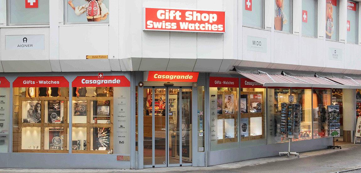 Der Souvenirshop am Grendel in der Stadt Luzern.