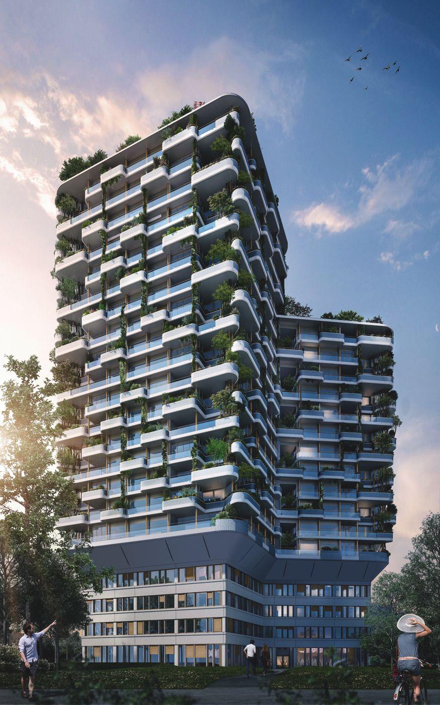 So soll das Gebäude aussehen: Visualisierung des Gartenhochhauses Aglaya in Risch-Rotkreuz.