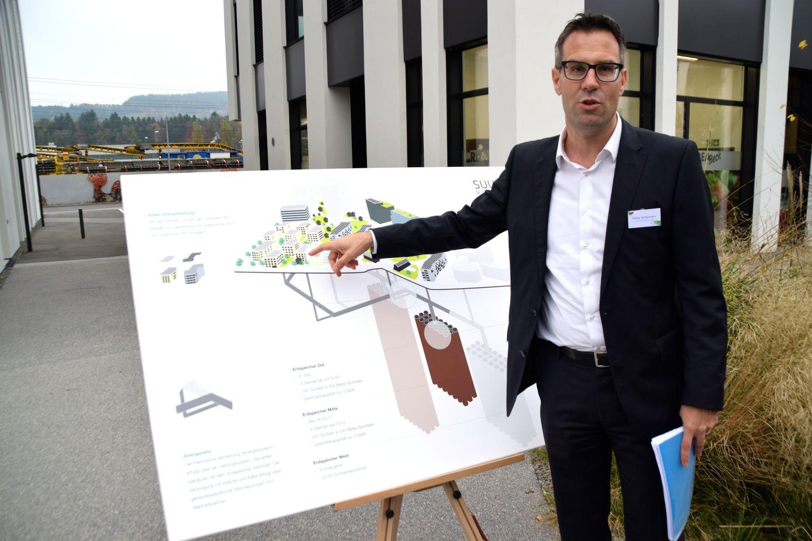 Tobias Achermann, CEO der Zug Estates Holding AG, die das «Suurstoffi»-Areal besitzt. Er erläuterte das nachhaltige Energiekonzept, das mit Erdwärme funktioniert.