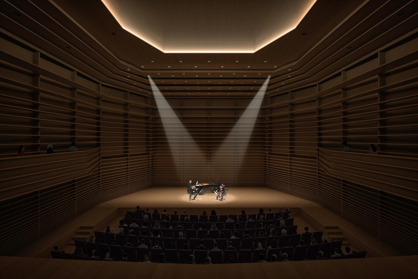 Jedes Detail prägt den Klang des Saales: Der Kammermusiksaal. Visualisierung: Enzmann Fischer & Büro Konstrukt AG.
