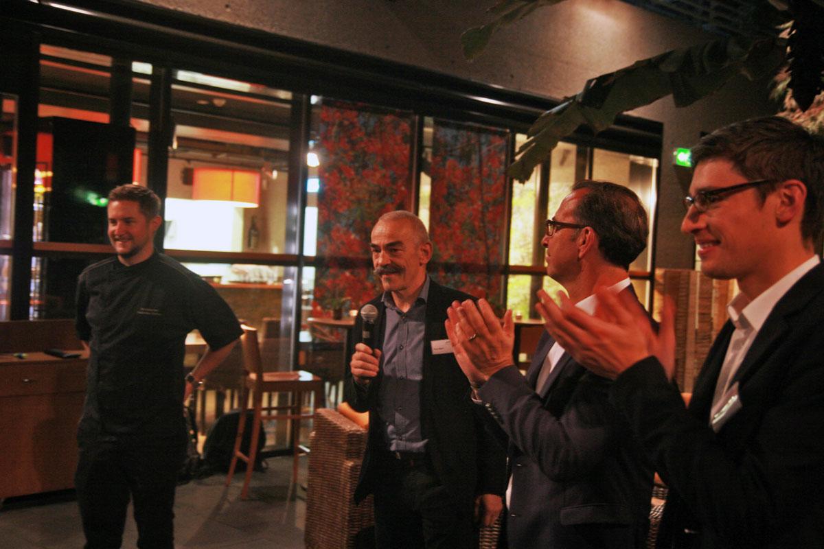 Applaus für den Spitzenkoch Andreas Halter, daneben Pius Marti (Tropenhaus), Roland Frefel (Coop) und Christian Bärtsch (Essento).