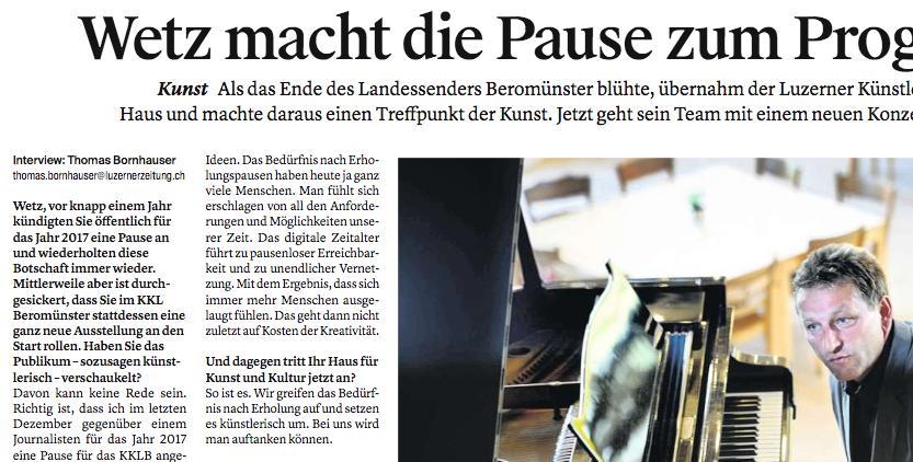 Das Interview von LZ-Autor Thomas Bornhauser mit Künstler Wetz wurde am 25. Oktober 2016 in der Luzerner Zeitung publiziert.