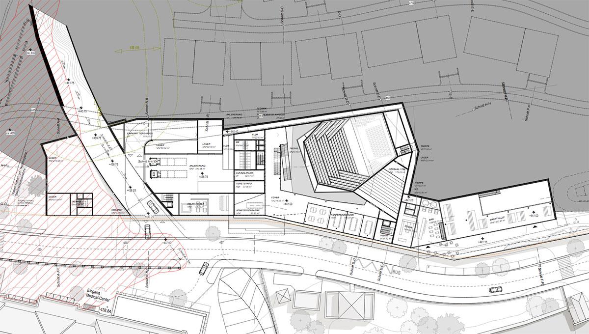 Die Ebene 1 des Campushotels, links der unterirdische Entlastungskanal, rechts der Konzertsaal, ganz rechts die Markthalle. (Grafik: Marques Luzern)
