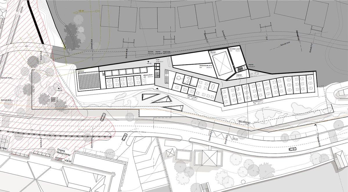 Die Ebene 2 des Campushotels, mit Büroflächen und Hörsaal links. (Grafik: Marques Luzern)