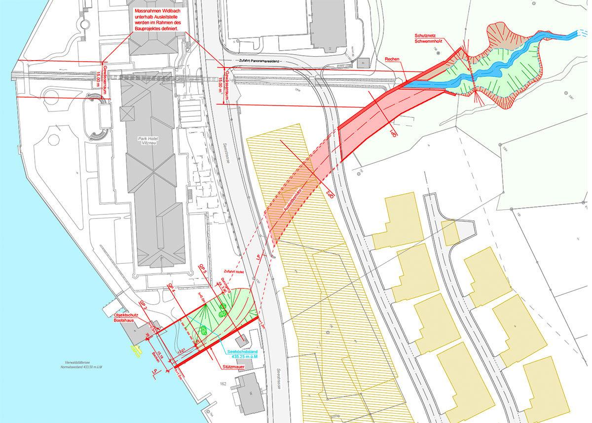 Der Entlastungskanal soll das Bauvorhaben von Peter Pühringer zum Fliegen bringen. (Grafik: ewp Bucher Dillier)