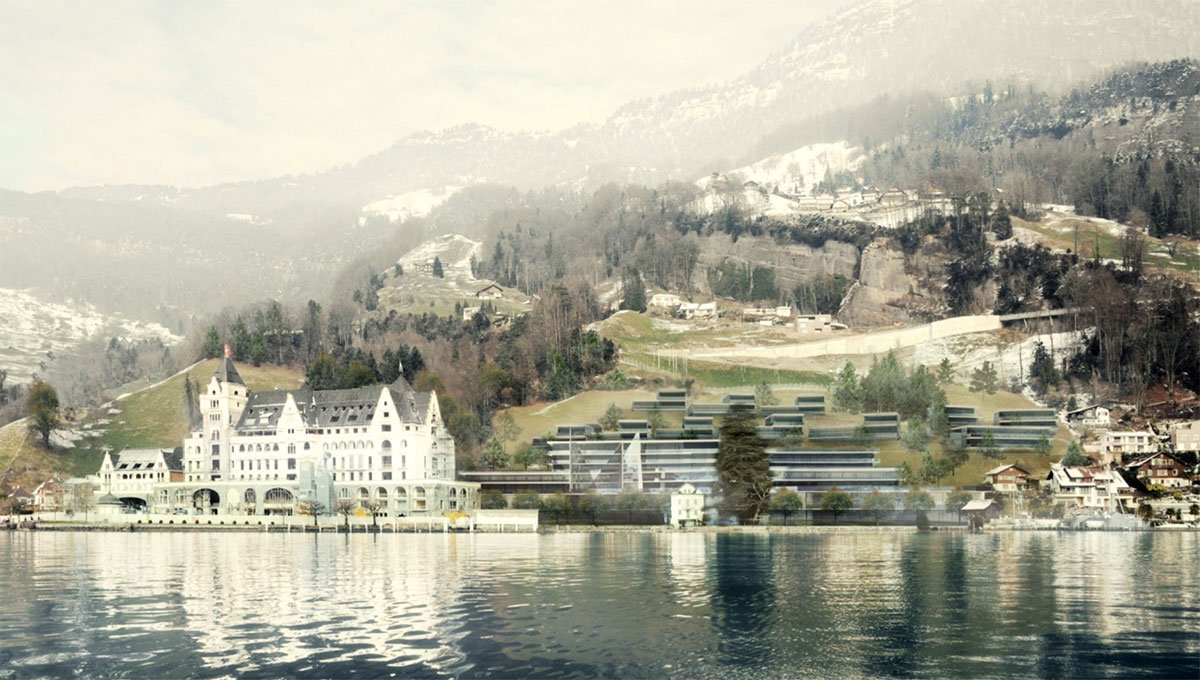 Die geplante Panorama Residenz Vitznau vom See aus gesehen – mit den Villen am Hang des Huseboden und dem Campushotel an der Kantonsstrasse. (Visualisierung: Marques Luzern)