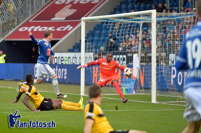 Nicolas Haas erzielt in der 32. Minute das 1:0 für die Luzerner (Bild: Dominik Stegemann).