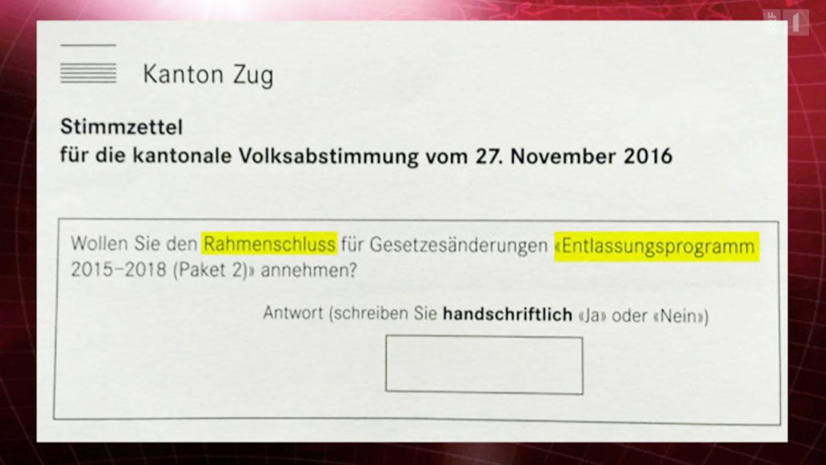 Der Zuger Stimmzettel mit den zwei Fehlern. (Screenshot SRF)