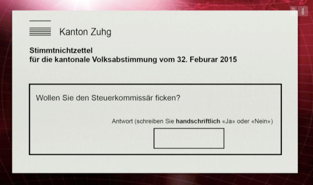 Und Viktor Giacobbo präsentierte einen weiteren Zuger Stimmzettel mit Fehlern. (Screenshot SRF)
