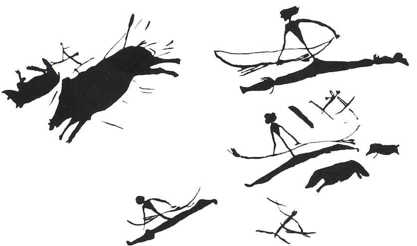 Mittelsteinzeitliches Felsbild: Die Waden der Jäger sind verdickt, was als Darstellung von Stiefeln gedeutet werden kann. (Bild: schuhtick, zvg. Museum für Urgeschichte(n))