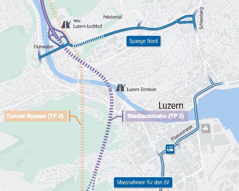Die Spange Nord soll die Innenstadt dereinst vom Verkehr entlasten. Der Tunnel Bypass den Durchgangsverkehr aus der Stadt fernhalten.