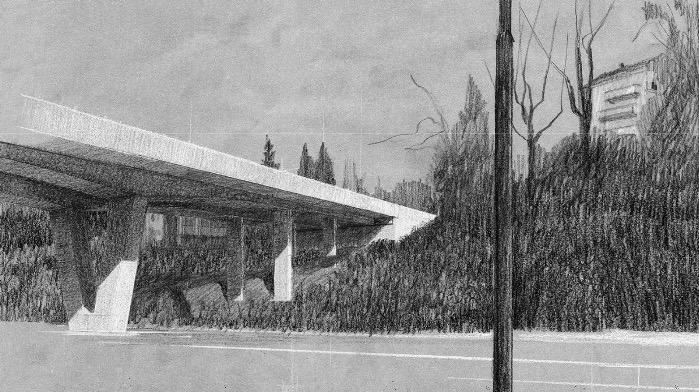Diese Skizze zeigt die 4-spurige Fluhmühle-Brücke