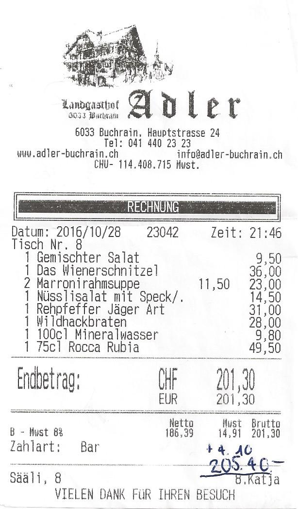 Die Rechnung für 4 Personen.