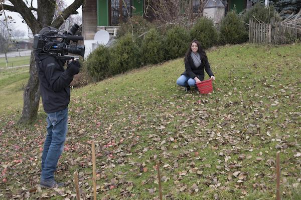 Kandidatin Edolinda beim Äpfelauflesen. (Bild: zvg/Miss Earth Schweiz GmbH)