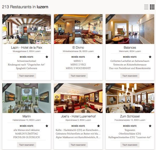 So sieht es aus, wenn man bei lunchgate.ch auf die Webseite geht und «Luzern» eintippt.