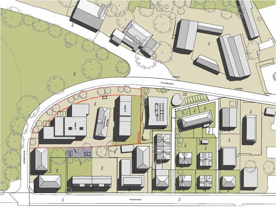 Auf dem rot umrandeten Eichwaldareal ist in diesem Siegerprojekt die geplante Gebäudeanordnung eingezeichnet. Unten ist die Horwerstrasse, links die Allmend.