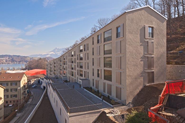 Überbauung mit 36 Mietwohnungen der Allgemeinen Baugenossenschaft Luzern (ABL) an der Weinberglistrasse.